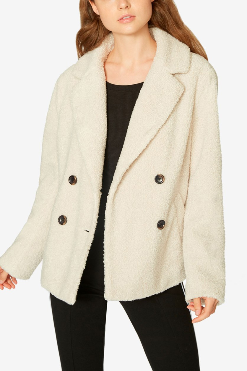 Women's Free Spirit Winter Double-Breasted Faux Fur Coat, Salt