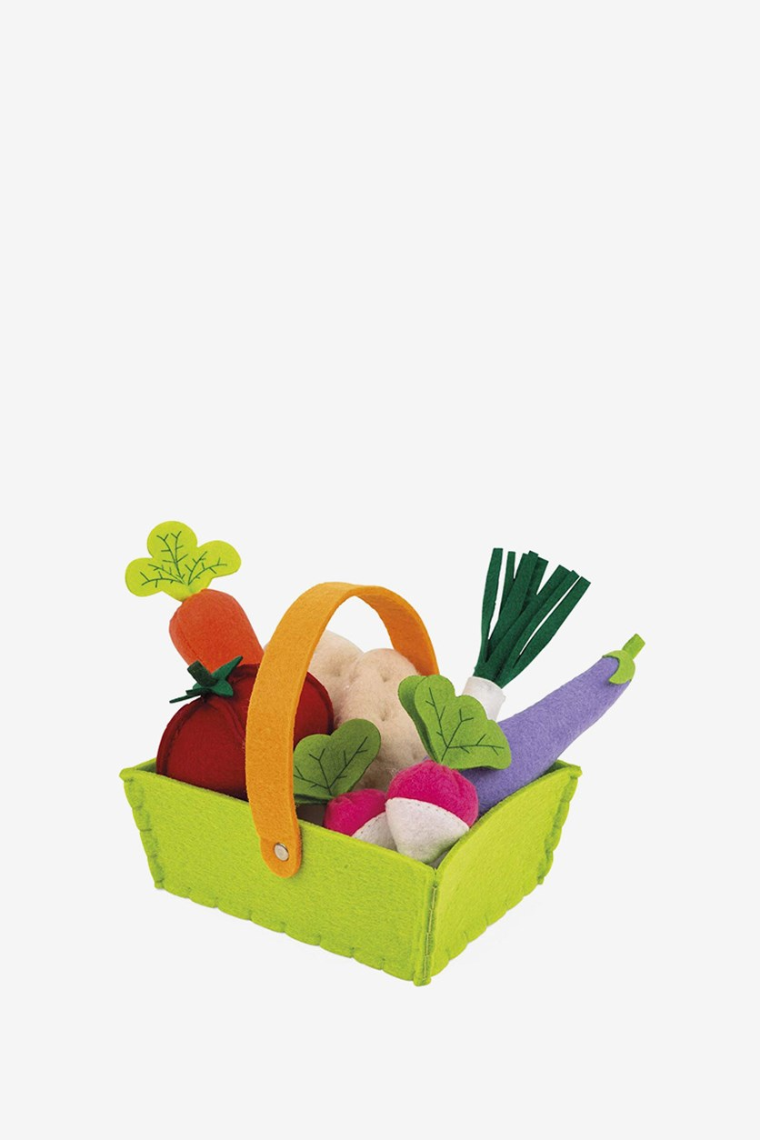 Fabric Basket With 8 Vegetables, Green Combo