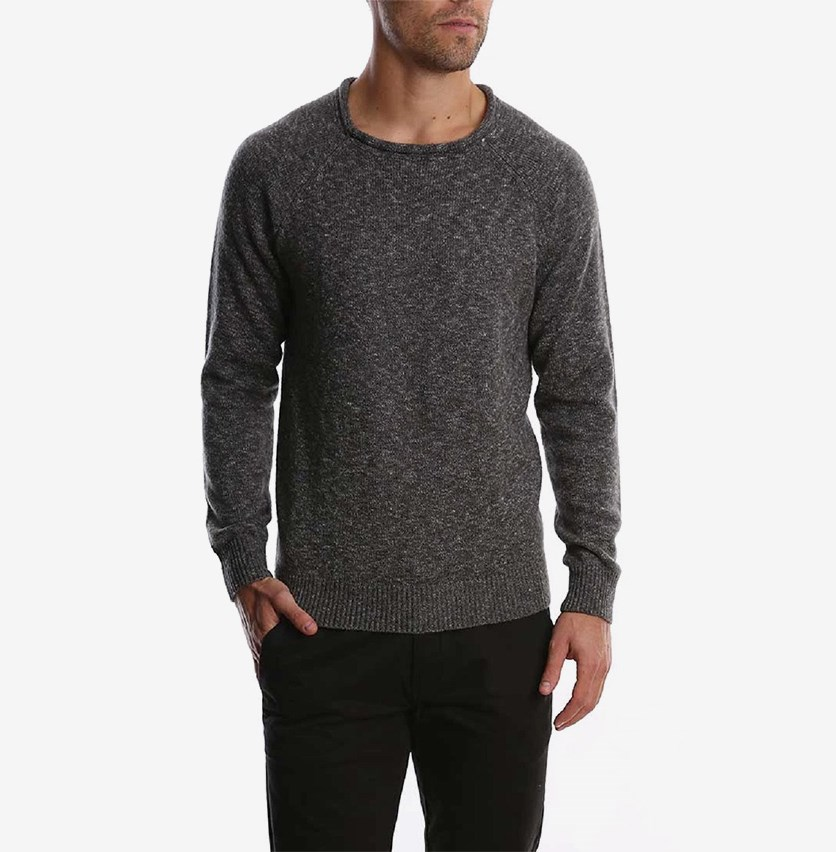 Roll Neck Sweater, Grey Combo