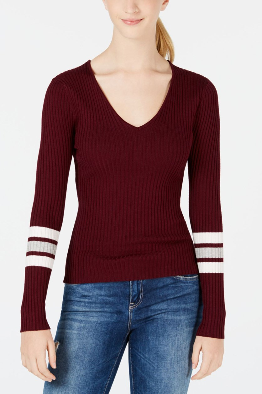 Women's By Lot Juniors' Lace-Up Varsity-Stripe Sweater, Vino