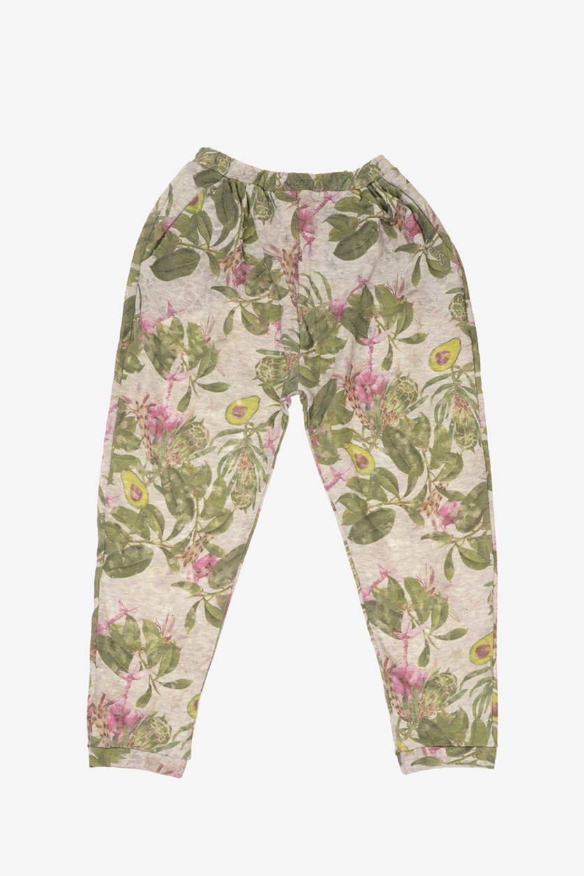 Big Girls Floral Pants, Grey Combo