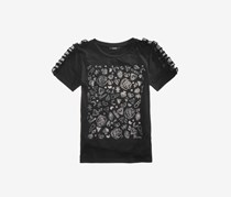 Guess Girls Ruffle-Trim Rhinestone T-Shirt, Black
