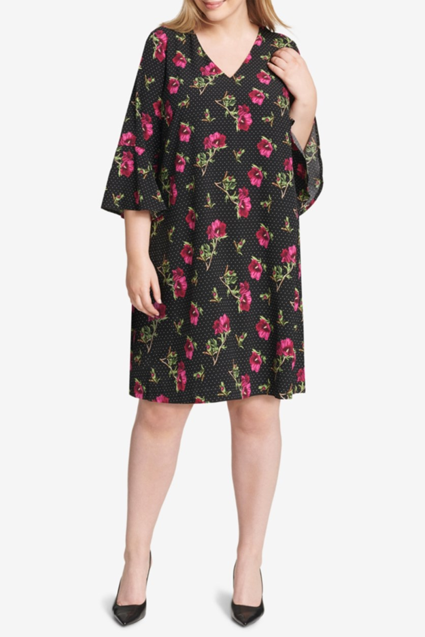 Plus Size Floral Printed Bell-Sleeve Dress, Black Combo