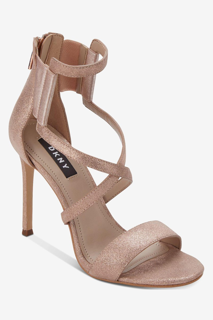 Women's Lil Studs Open Toe Ankle Strap Classic Pumps, Rose Gold