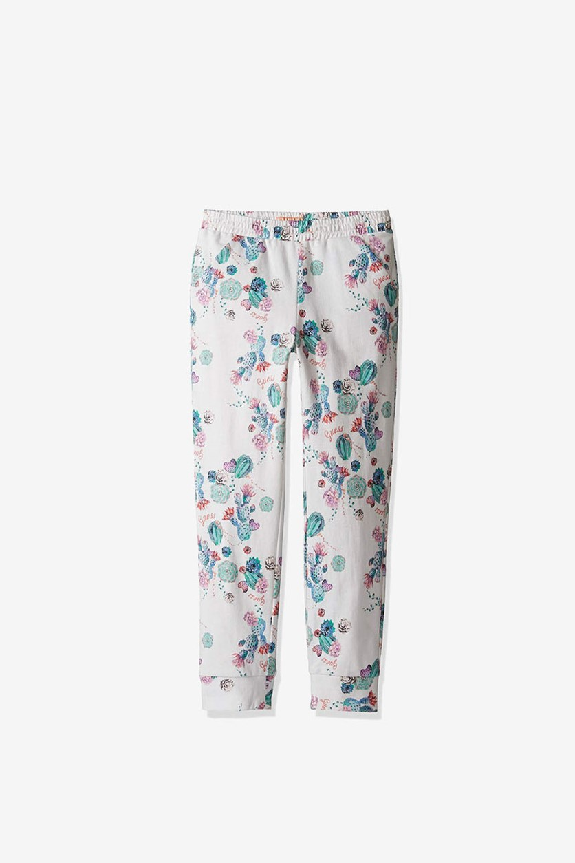 Kids Girls Floral Print Pants, True White
