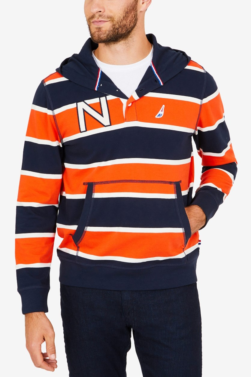 Men's Striped Hoodie, Navy/Orange