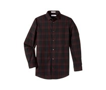 Calvin Klein Boy's Windowpane Plaid Shirt, Black/Maroon