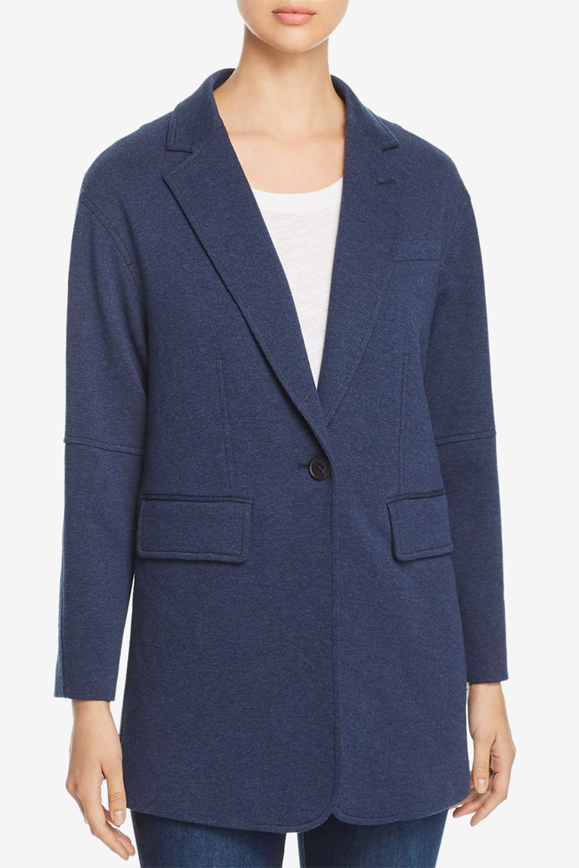 Women's Pebble Oversized One-Button Knit Blazer, Navy