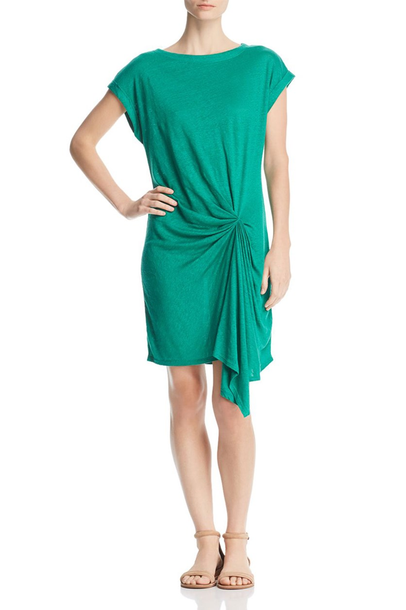 Women's Knot-Front Cuff-Sleeve Shirtdress, Green