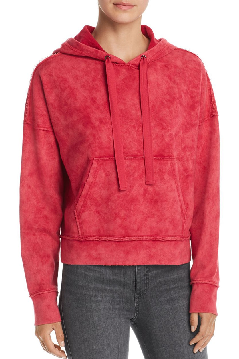 Women's Cropped Pullover Hoodie, Cerise