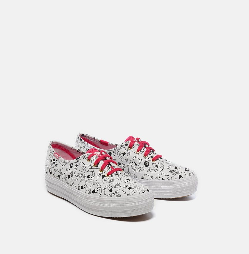 Women's Triple Little Miss Chatterbox Canvas Sneakers, White