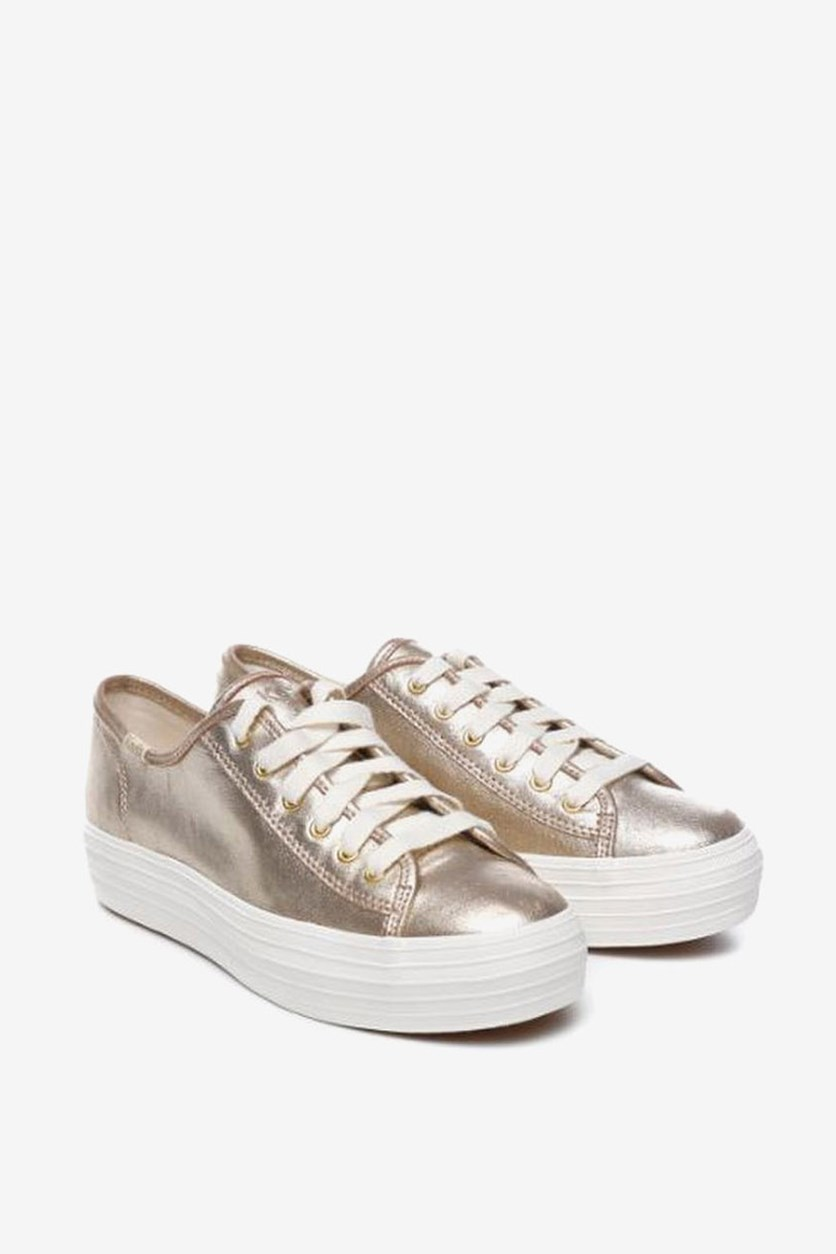 Triple Kick Metallic Suede Platform Sneakers, Gold
