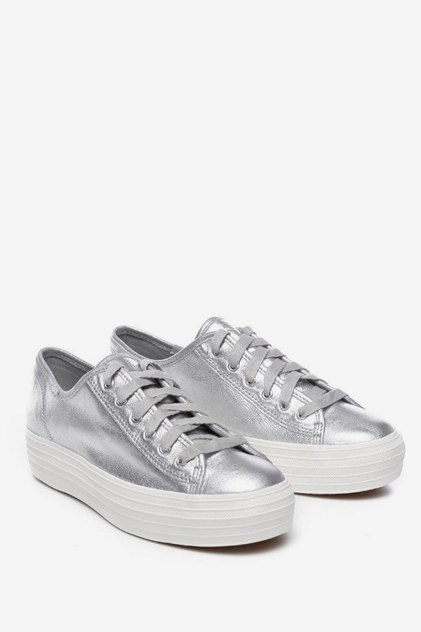 Triple Kick Metallic Platform Sneakers, Silver