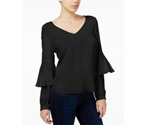 kensie Women's Split-Back Layered-Sleeve Top, Black