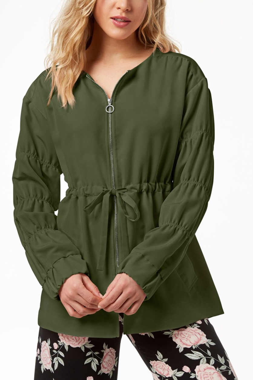 Women's Ruched-sleeve Anorak Sweaters, Pine Green
