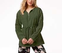 Kensie Women's Ruched-Sleeve Anorak Jacket, Olive