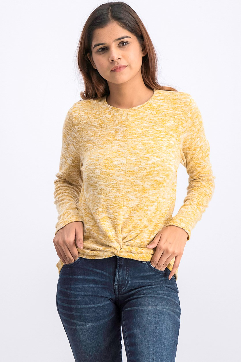 Women's Knot Hem Sweater, Yellow Heather