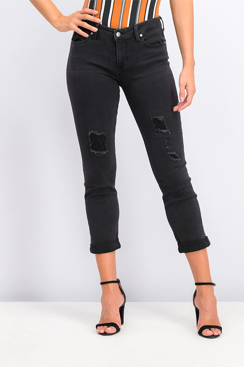 Women's Slim Boyfriend Belt Loops Jeans, Black