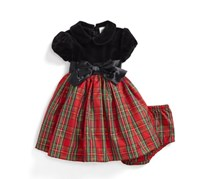 Little Me Girl's Plaid Fit & Flare Dress, Red/Black