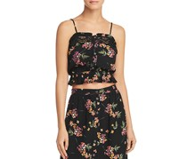 Lost + Wander Women's Mamba No. 5 Floral Print Lace Inset Crop Top, Black