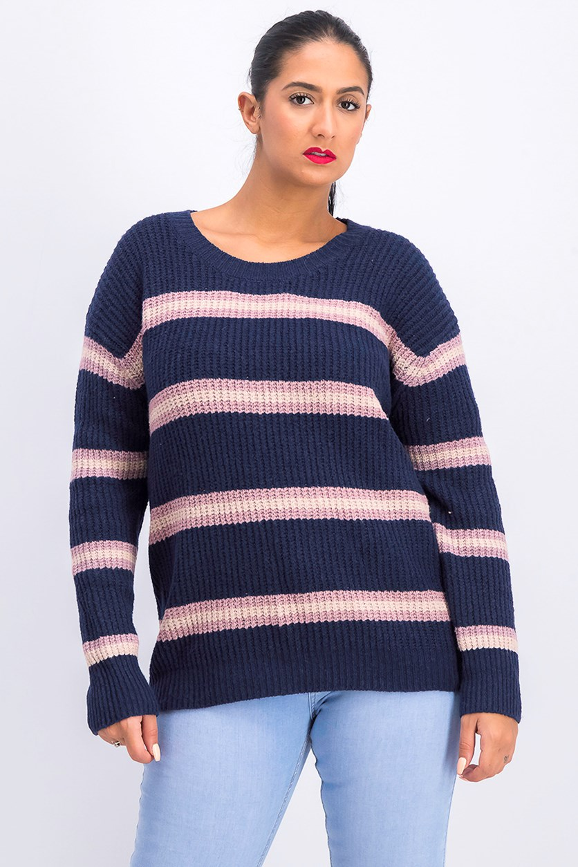 Women's Colorblocked Stripe Sweater, Navy/Pink