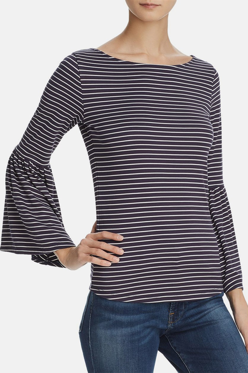 Denim Women's Bell-Sleeve Striped T-Shirt, Dark Navy/White