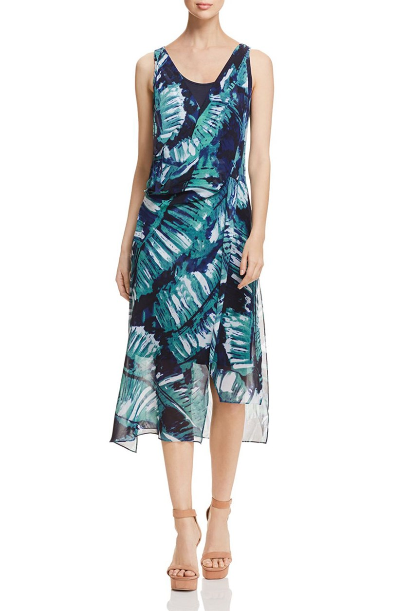 Women's Leaf an Impression Floral Surplice Maxi Dress, Blue Sea