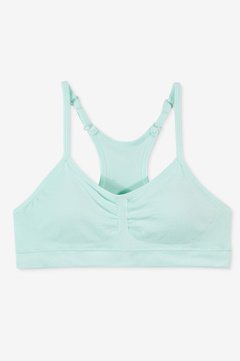 Girls Padded Ruched Seamless Crop Bra, Soothing Sea