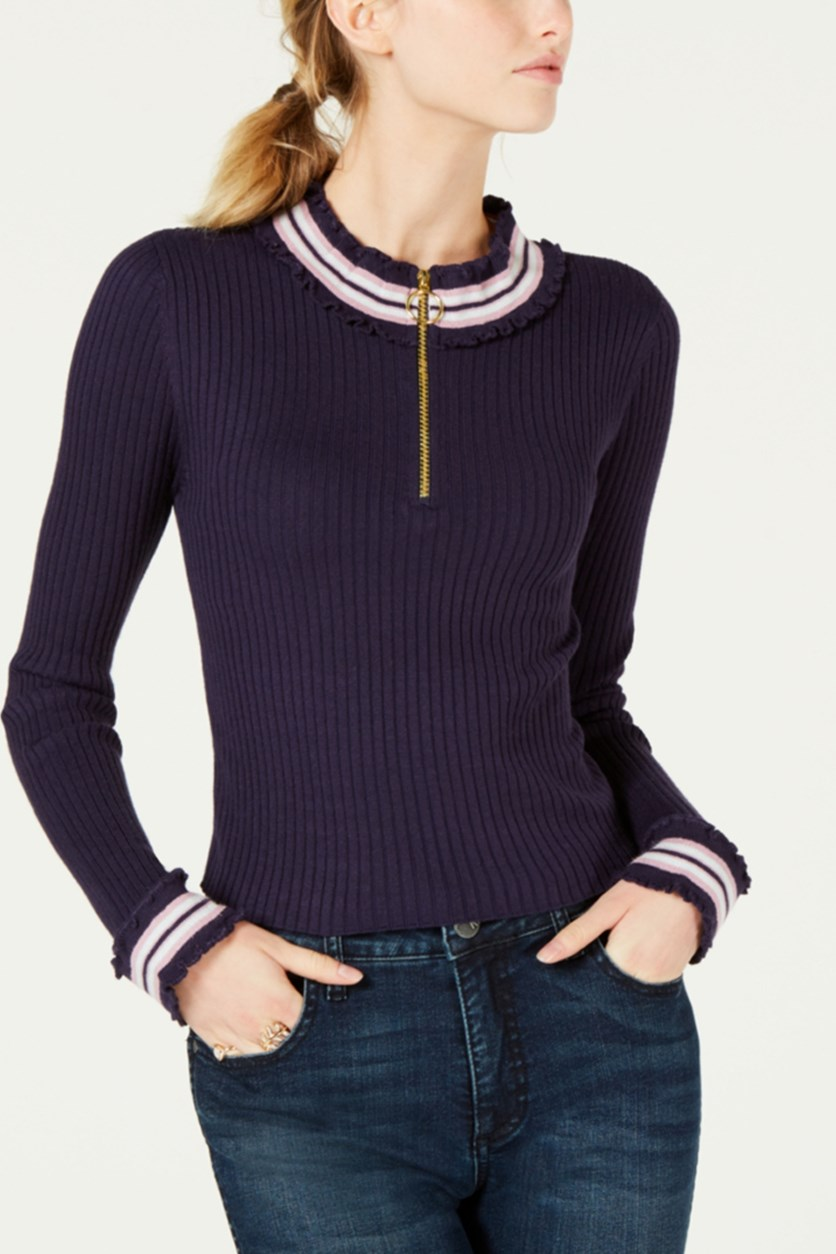 Juniors' Ribbed Zip-up Sweater Top, Maritime Blue
