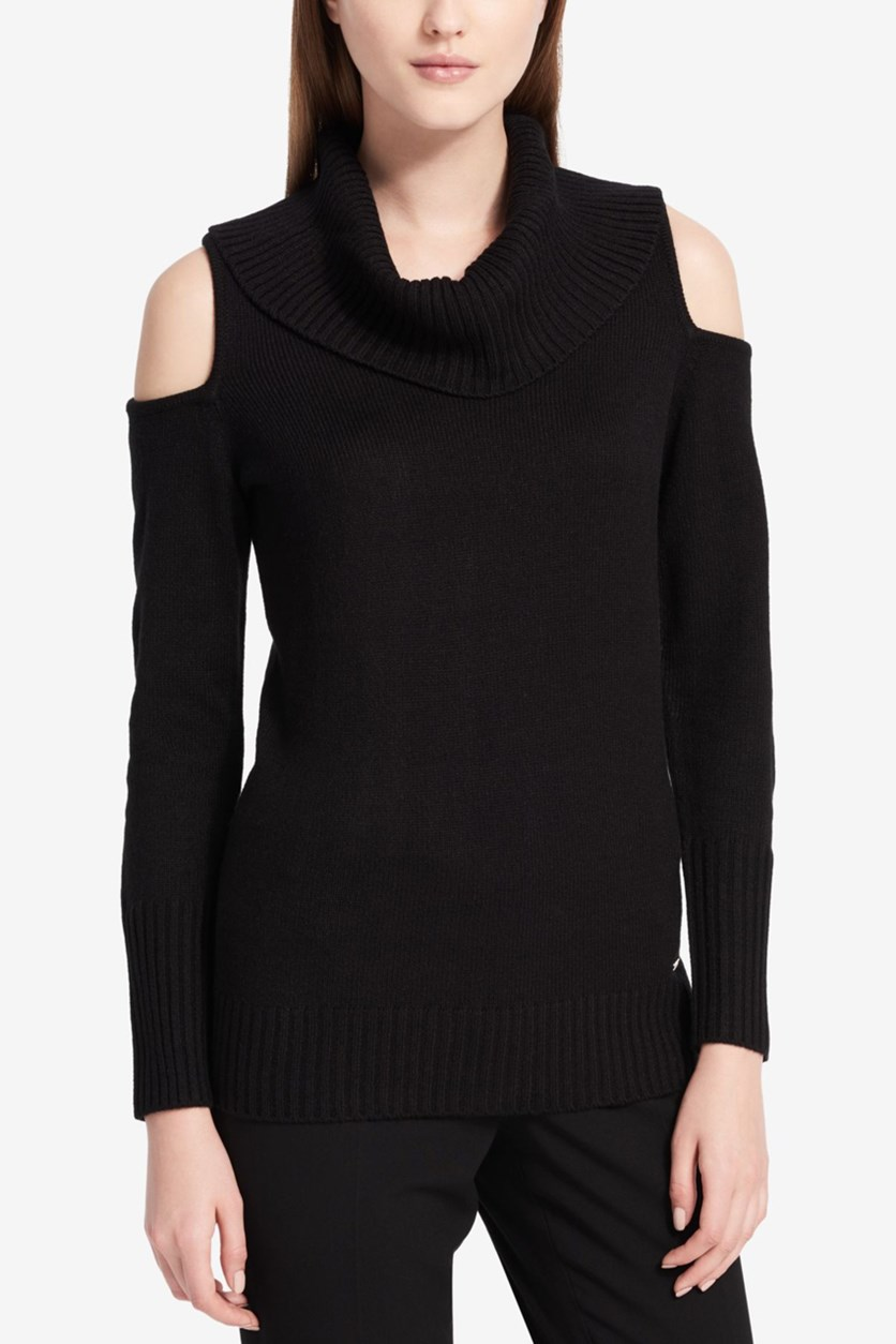 Women Cold-Shoulder Sweater, Black