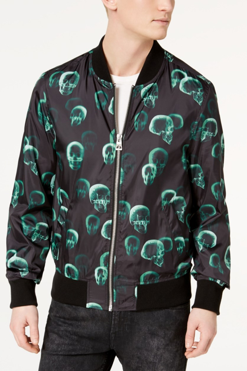Mens Skull Bomber Jacket, Black/Green