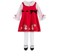 Blueberi Baby Girls 3-Pc. Snowman Jumper Set, Red