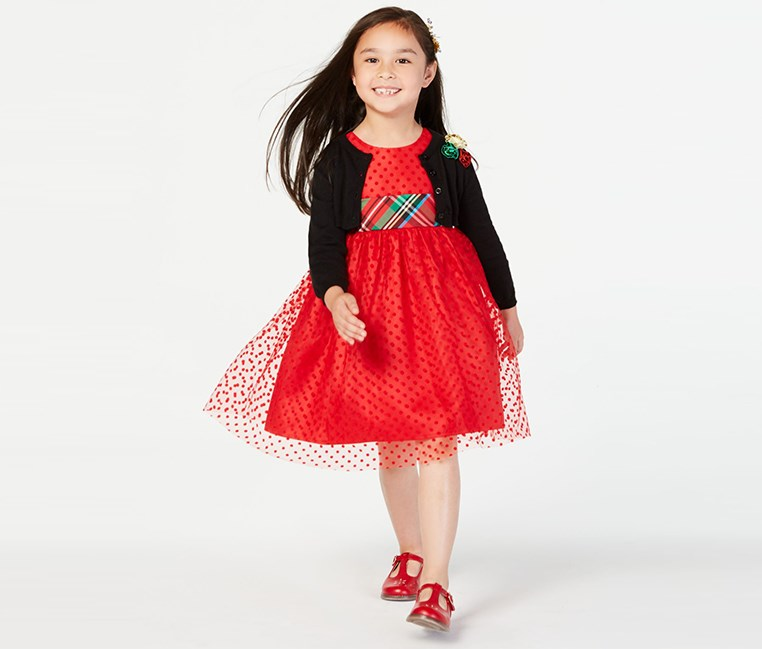Toodlers Girls 2-Pc. Dress & Cardigan Set, Red/Black