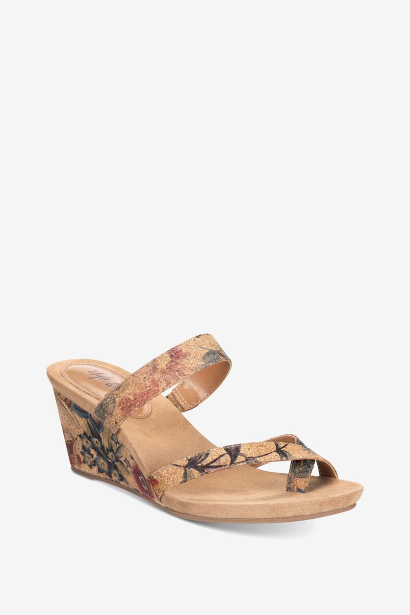 . Womens Madelaa Wedge Sandals, Floral Cork