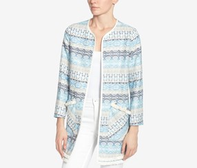 Catherine Malandrino Pip Fringe-Trim Topper Jacket, Blue