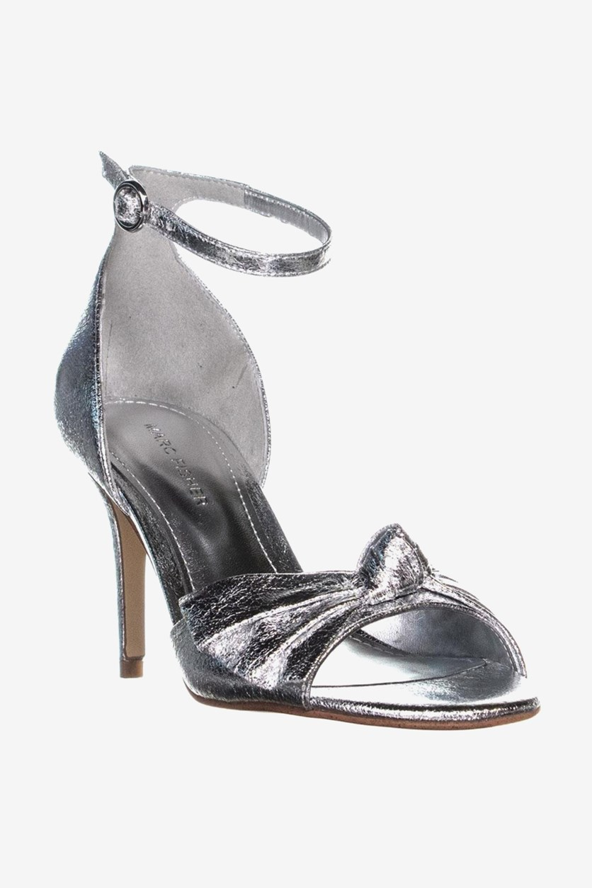 Brodie Buckle Knotted Sandals, Silver