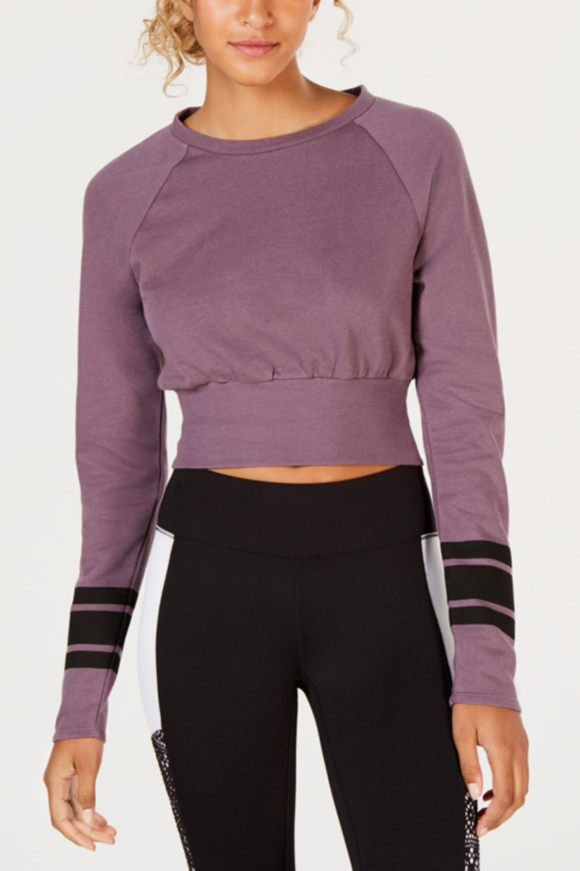 Women's Striped-Sleeve Crop Top, Black Plum