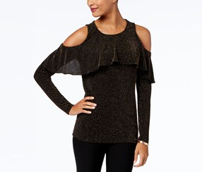 Michael Kors Ruffled Cold-Shoulder Sweater Black/Silver