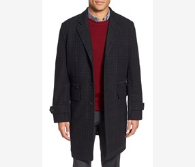 Trim Fit Plaid Wool Blend Overcoat, Charcoal