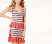 Moon River Cotton Fringe-Trim Tank Top, Coral Stripe