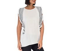 Women's Embroidered Gauze Pullover Top, White/Navy