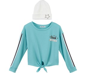 Beautees Girls Unicorn Sequin Top with Hat, Blue