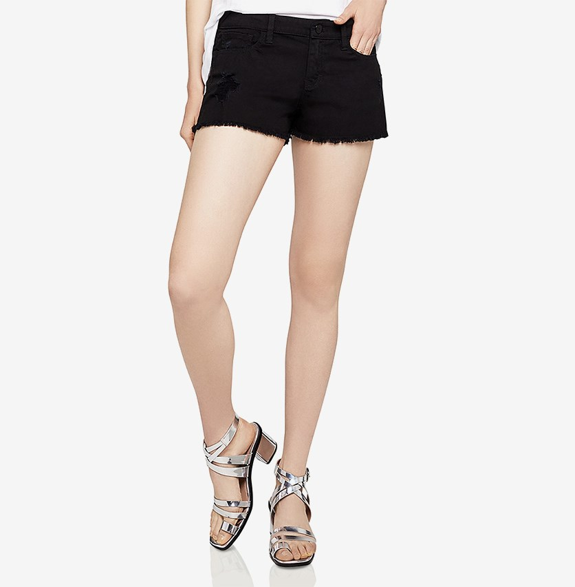 Frayed-Hem Stretch Denim Short, Black
