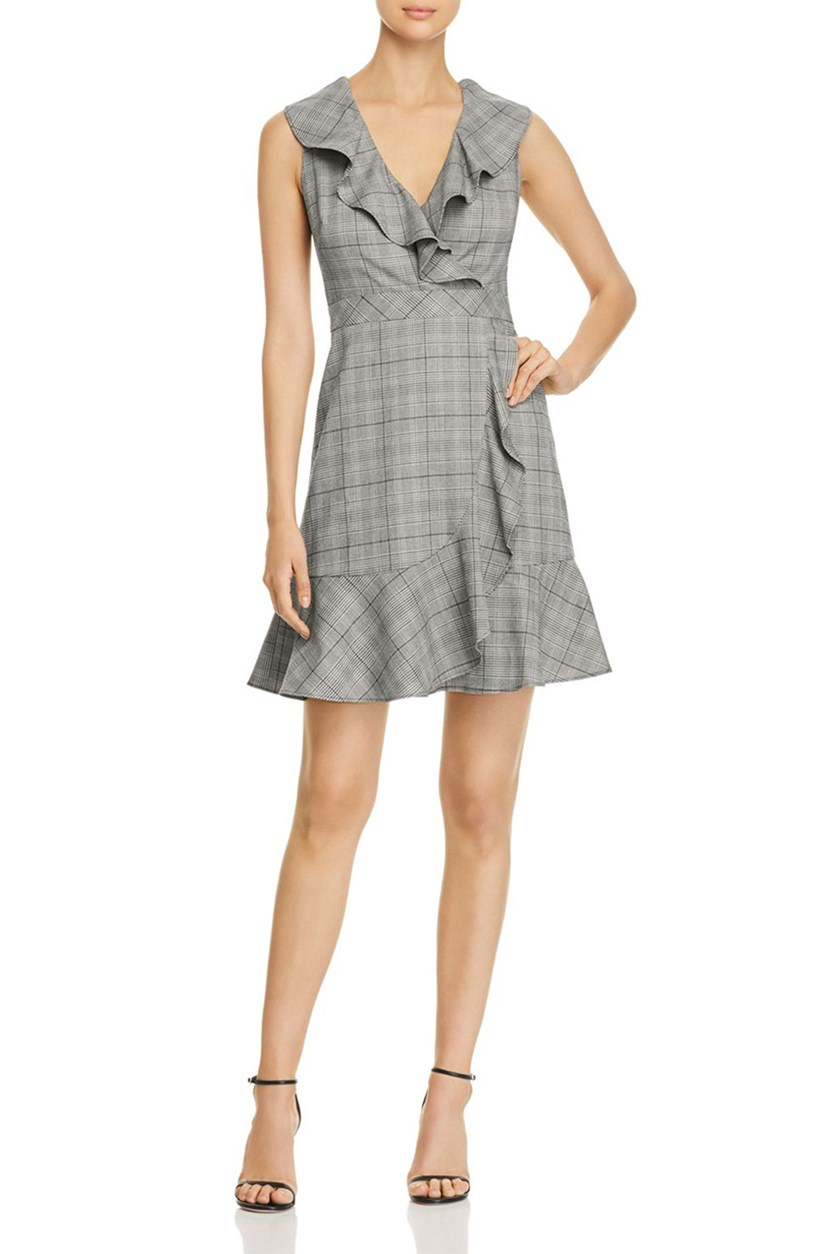 Women's Mod Ruffled Plaid Party Dress, Black Combo