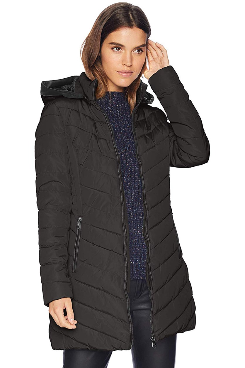 Women's Quilted Hooded Puffer Jacket, Gunmetal