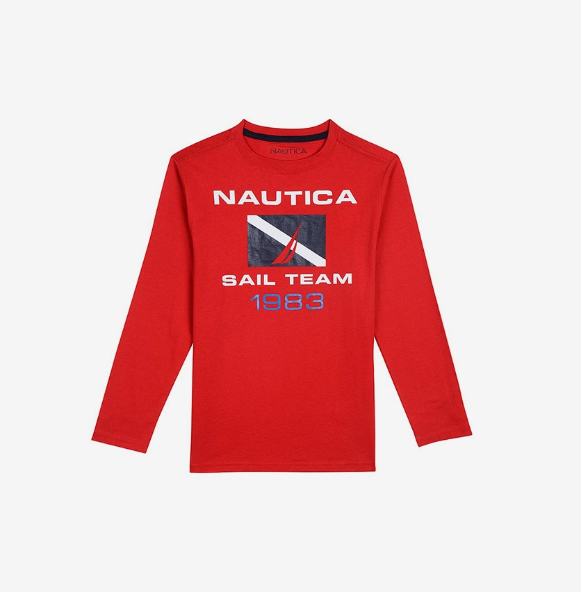 Big Boys' ' Sail Team' Long-Sleeve Tee, Carmine