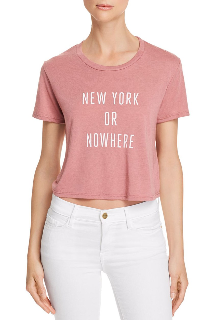 Women's New York Or Nowhere Cropped Tee, Dusty Pink