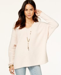 Free People Women's Oversized V-neck Sweater, Pink