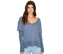 Free People Women's Blue Boat Neck Layered Look Top, Blue