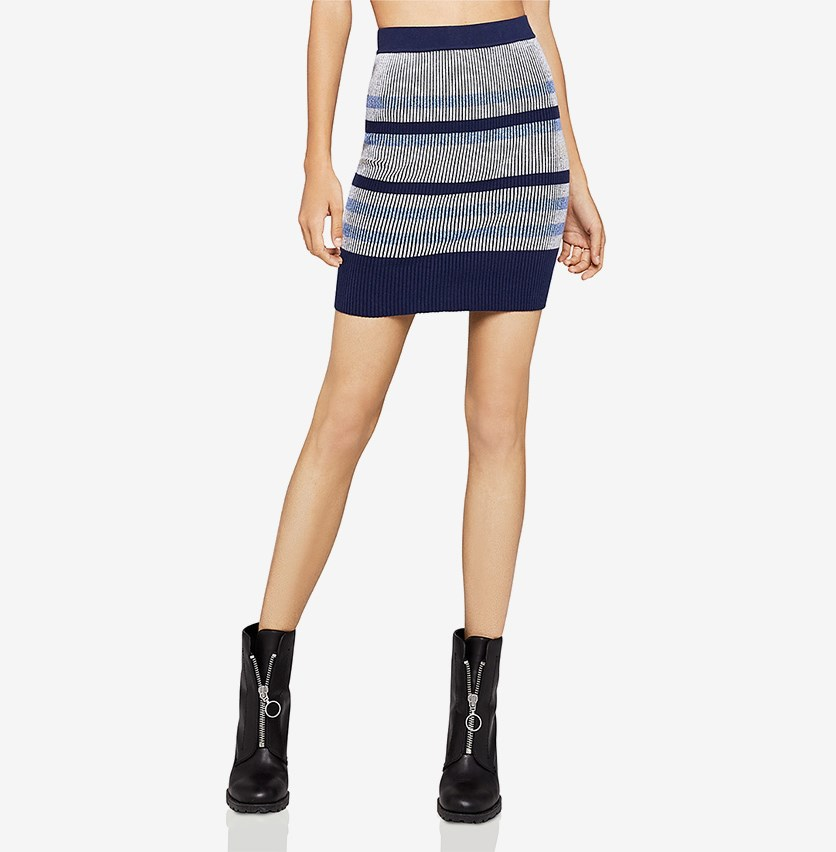 Striped Mini Pencil Skirt, Blue Combo